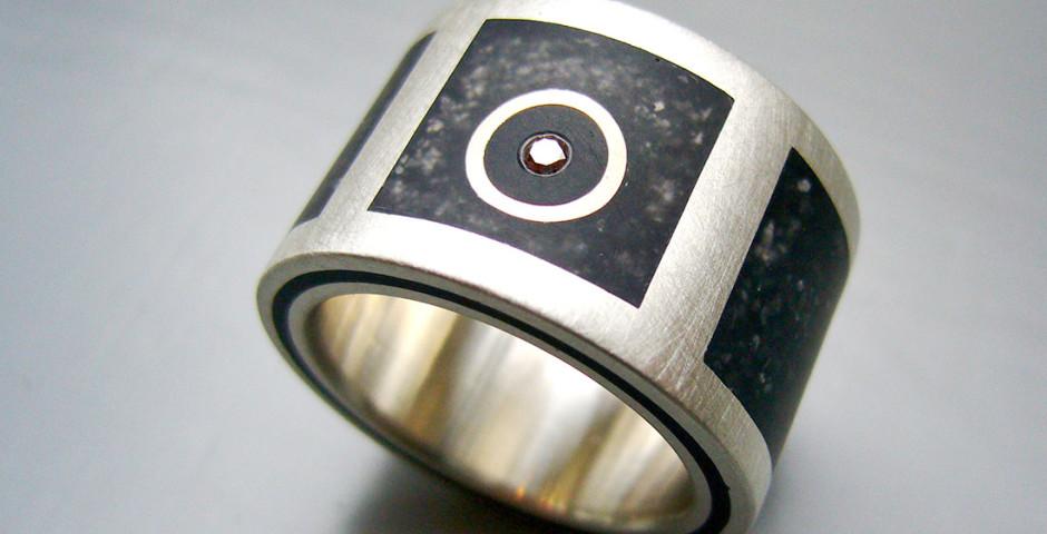 Silber 925 cognac Brillant Graphitflocken Colorit