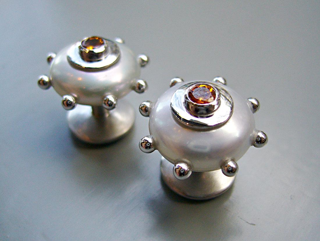 Manchettenknöpfe Weissgold 750 Perlen Spessartin