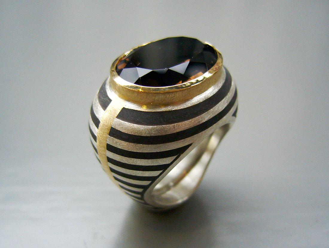 Streifenring Silber 925 Gelbgold 750 Rauchquarz
