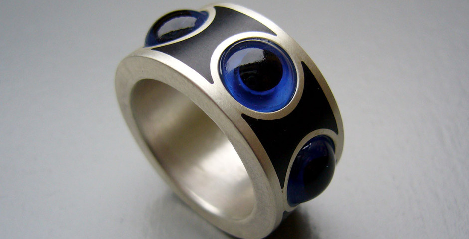 Augenring Silber 925 Teddybär-Glasaugen Colorit