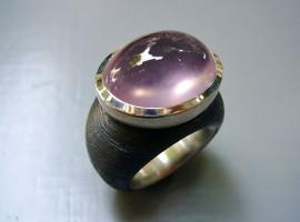 Eisen Silber 925 Sternrosaquarz