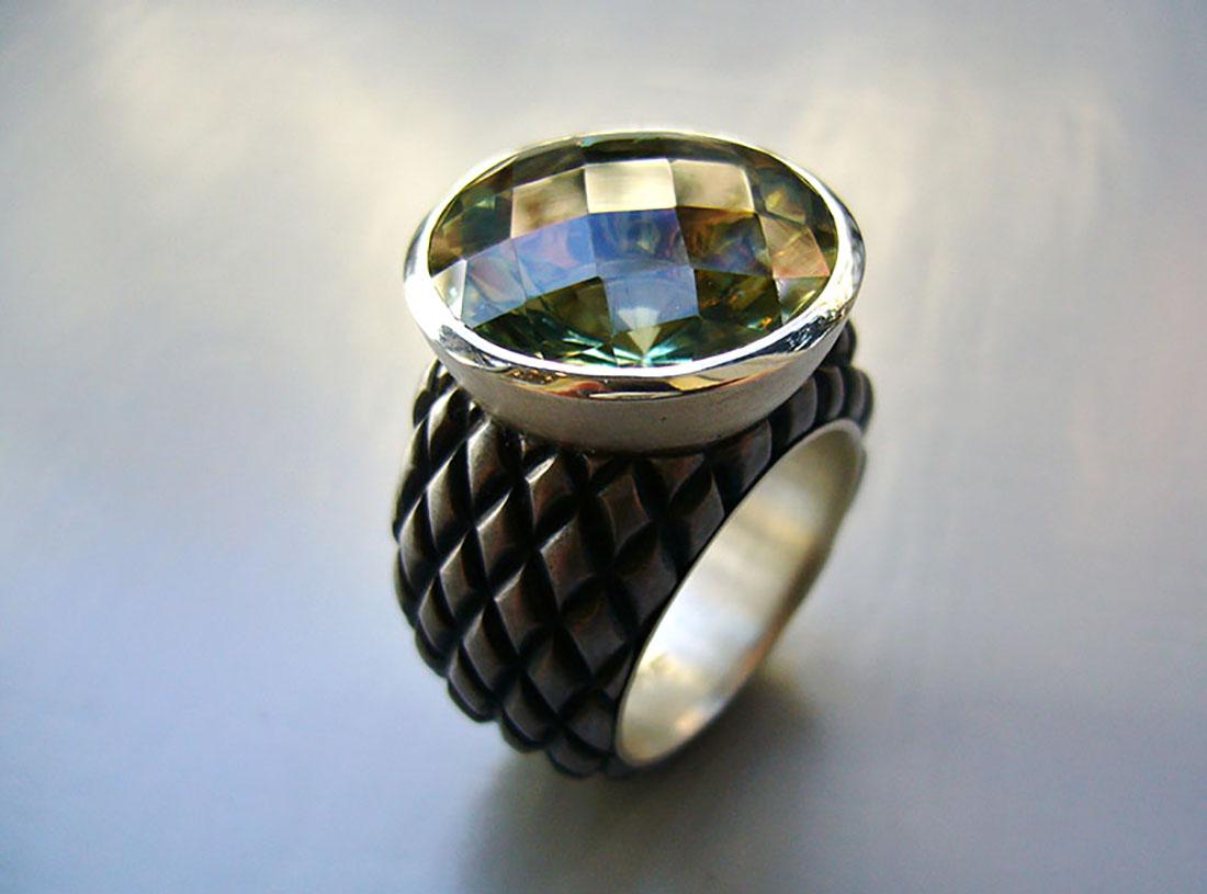 Eisen Silber 925 Prasiolith