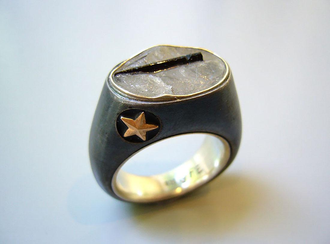 Eisen Silber 925 Quarz mit Turmalinnadel