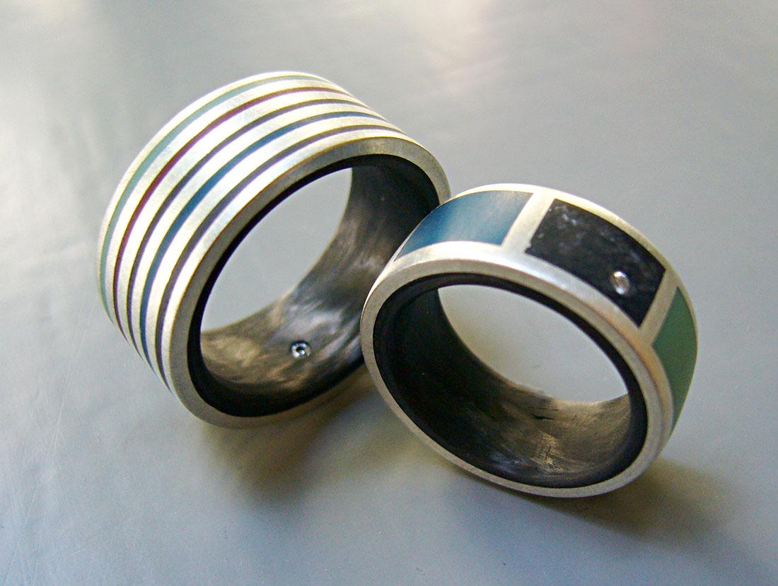 Carbon Silber 925 Colorit weisse Brillanten