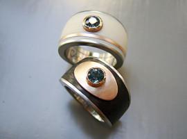 Silber 925 Rotgold 750 Colorit Carbon Safir